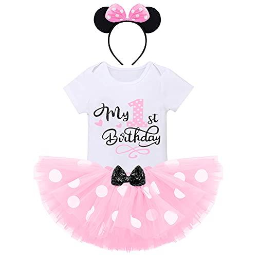 FYMNSI Baby Mädchen Mein 1. Geburtstag Outfit Minnie Maus Kostüm Gepunktet Tütü Rock Baumwolle Kurzarm Body Strampler mit Ohr Stirnband 3tlg Sommer Bekleidungsset Rosa - 1. Geburtstag 1 Jahr