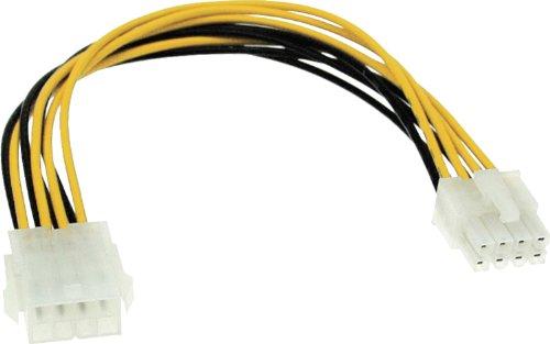 InLine 26631 Strom Verlängerung intern, Netzteil zu Mainboard 8pol. Stecker / Buchse, 0,2m