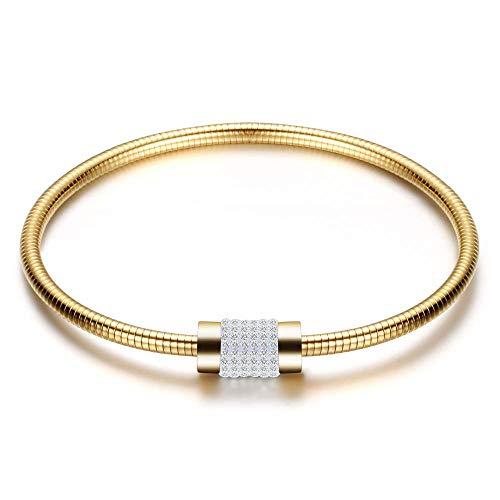 TIANYOU Cadena de diamantes para mujer, pulsera con incrustaciones de acero inoxidable, cadena base de oro de Pandora dfgdd