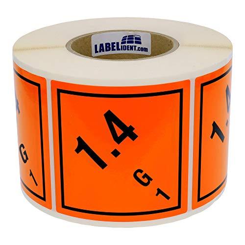 Labelident Gefahrgutaufkleber 100 x 100 mm - Klasse 1 - Explosive Stoffe - 1000 Gefahrgutetiketten auf 1 Rolle(n), 3 Zoll Kern, Papier orange, selbstklebend