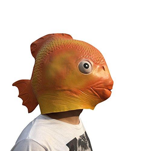 thematys Gold-Fisch Fish Maske - perfekt für Fasching, Karneval & Halloween - Kostüm für Erwachsene - Latex, Unisex Einheitsgröße