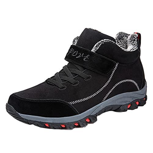 Botas de nieve para hombre ligeras de invierno antideslizantes con plataforma de color sólido zapatos cálidos para trabajo al aire libre botines altos informales
