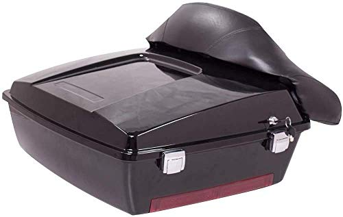 ECOTRIC Black Motorcycle Large Pack Trunk with Backrest for Harley Davidson Touring Electra Glide Road King 1997-up (Only Directly fit 1997-2008 Harley Touring models)