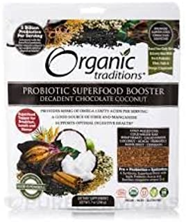 Organic traditions Probiotic Superfood Booster, Decadent Chocolate Coconut - 7 oz Pack of 2