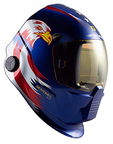 ESAB 0700000830 Special Edition United We Weld SENTINEL A50 Welding Helmet, Red, White and Blue, 3.93 x 2.36 in. (100 x 60 mm) viewing area.