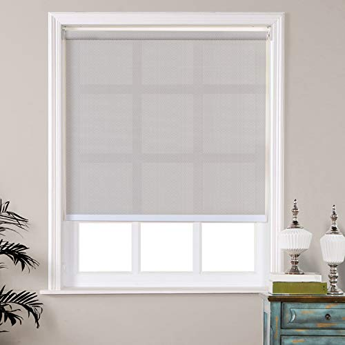 TWOPAGES Roller Shades for Home, Custom Made Waterproof Woven Fabric Roller Window Shade Room Darkening Light Filtering Roller Blinds, Cord with Safety Device, Roving Gray