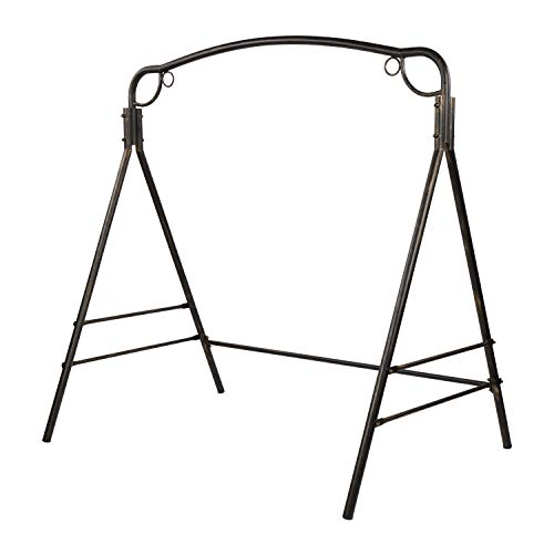 VINGLI Upgraded Metal Porch Swing Stand with Antique Bronze Finish, Heavy Duty 800 LBS Weight Capacity Steel Swing Frame with Extra Side Bars, Powder Coated Hanging Swing Frame Set for Outdoors
