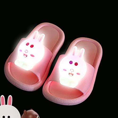 Perferct Men'S Slippers,Led Luminous Slippers, Women'S Summer Wear Net Red Luminous Slippers, Boys And Girls Baby Home Pvc Non-Slip Soft Bottom Cute Rabbit Slippers-Eu 24-25_pink