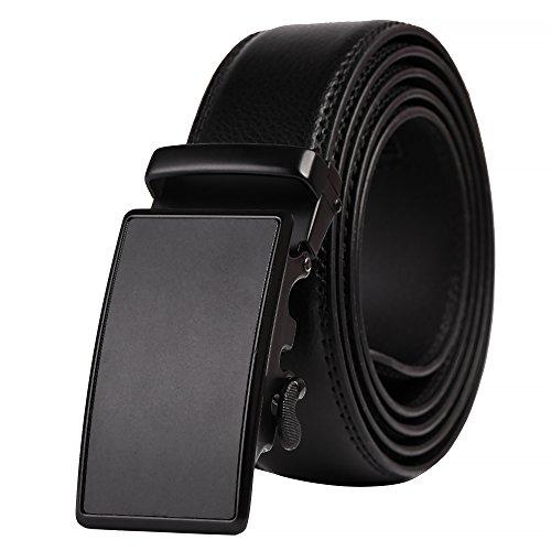 QBSM Men's Genuine Leather Ratchet Dress Belts, Click Slide Belt with Automatic Buckle Valentine's Day Gifts for Men