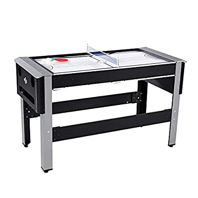 Lancaster 4 in 1 Bowling, Hockey, Table Tennis, Pool Arcade Game Table, Black by Lancaster Gaming Company