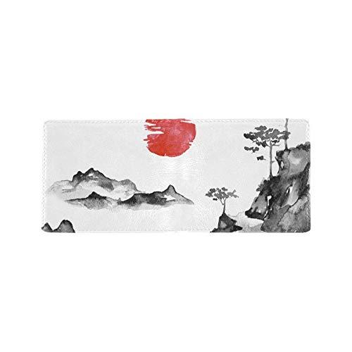 Japan Traditional Sumie Malerei Cool Lether Visitenkarte Münze Id Beutel Inhaber Reise Clutch Geldbörse Geldscheinklammer Brieftasche Fall Für Mädchen Männer Und Frauen Vordere Tasche Scheckheft