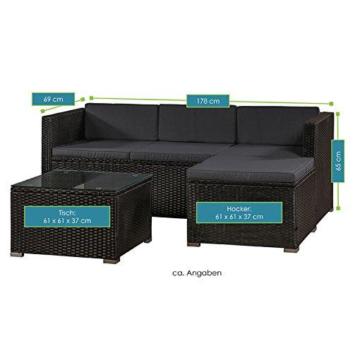 ArtLife Polyrattan Lounge Punta Cana M für 3-4 Personen mit Tisch in schwarz mit Bezügen in Dunkelgrau | Gartenmöbel Sitzgruppe - 7
