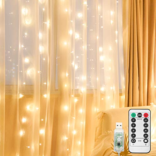 suddus 200led USB Curtain Lights with Remote, Window Curtain String Lights Warm White,led Curtain Lights for Bedroom Wall Waterproof, Christmas, Gardens, Bedrooms, Party Use