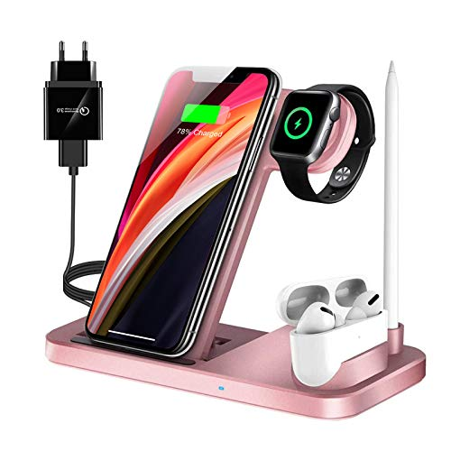 LECHLY Kabelloses Ladegerät,4 in 1 Induktive ladestation für Apple Watch,Airpods Pro,iPhone 12/SE/11/X/XR/Xs Max/8,Samsung Galaxy S20/S10(Mit QC 3.0 Adapter)
