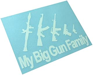 BERRYZILLA My Big Gun Family Decal Stick Figures Funny Window Bumper Vinyl Sticker (Come with Zombie Hunter Permit Decal)