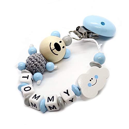 Schnullerkette mit Namen für Junge & Mädchen | VIELE INDIVIDUELLE MODELLE | Personalisierte Nuckelkette mit Wunschnamen (bär, grau, hellblau, wolke)