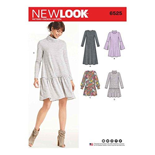New Look Schnittmuster 6525Damen Strick Kleid, Papier, weiß, 22x 15x 1cm