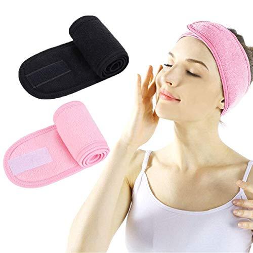 Fascia per Viso Spa – Fascia per capelli Spa Make Up Wrap Head Doccia Sport Spugna fascia fascia regolabile con nastro magico (Nero+Rosa)