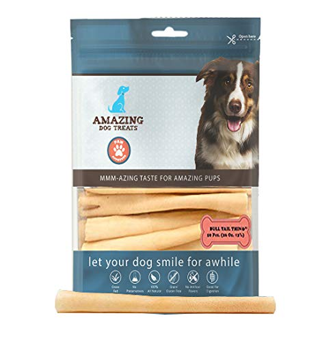 AMAZING DOG TREATS 6 Inch Cow Tail Dog Chew (25 Pcs/Pack) - Premium Quality - Thin - Sourced from Grass Fed Cattle - Long Lasting Dog Chew- Rawhide Alternative