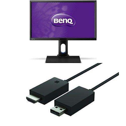 Set aus BenQ BL2420PT (23.8 Zoll) Monitor (VGA, DVI, HDMI, USB, 5ms Reaktionszeit, Höhenverstellbar, Pivot, Lautsprecher) schwarz + Microsoft Wireless Display Adapter
