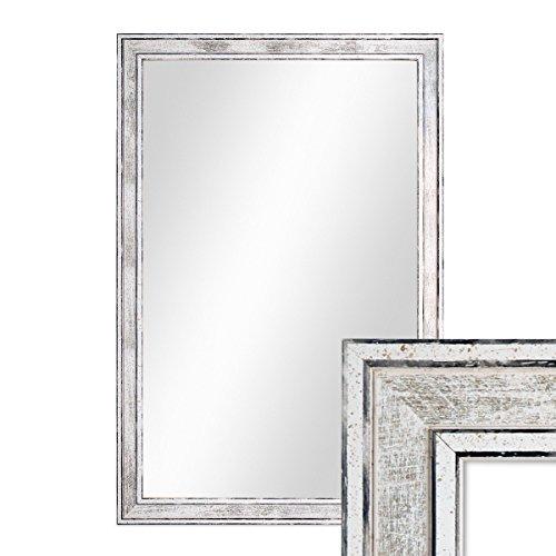 Wand-Spiegel 44,5x64,5 cm im Holzrahmen Pastell Vintage Look/Alt-Weiß Silber/Spiegelfläche 40x60 cm