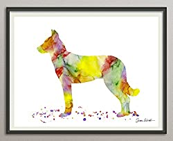maltese Rasse Hunde Hunderasse Fine Art Print Aquarell Silhouette Profil Poster Kunstdruck Plakat modern ungerahmt DIN A 4 Deko Wand Bild
