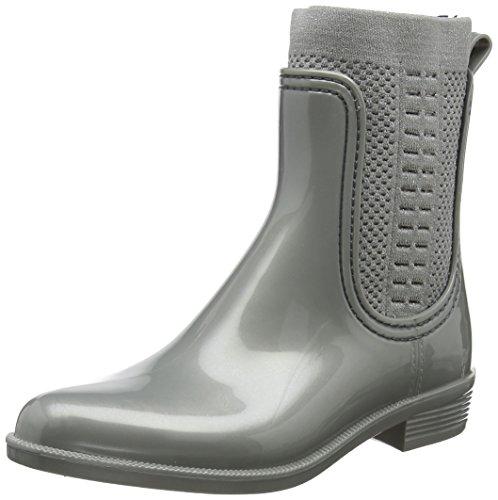 Tommy Hilfiger Damen Tommy Knit Shiny RAIN Boot Gummistiefel, Silber (Silver 000), 39 EU