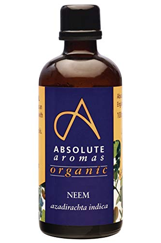 Absolute Aromas Organic Neem Oil 100ml in glass bottle - Pure, Natural, Cold-Pressed, Vegan and Cruelty Free