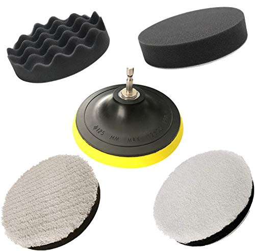JIGUOOR Polishing Pads, Car Polishers and Buffers Set Polishing Pads for Drill Professional Wax Paint Clean Polish Compound Sponge Pad Car Polishers Kit with M14 Drill Adapter-125mm 5inch