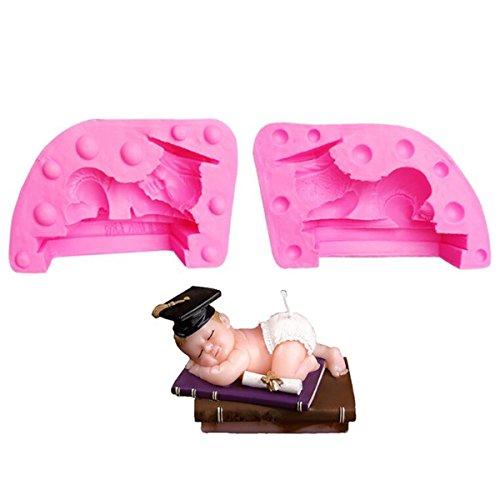 Molde para velas con forma de dormir para bebé, molde de silicona para fondant, hecho a mano para hacer jabón, molde para hacer velas, molde para decoración de tartas, postre, molde para hor