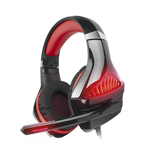 iKiKin Cuffie Gaming per PS4, Beexcellent Cuffie con Microfono Auricolare Gioco Over Ear per Nintendo Switch, PC, Xbox One, Stereo Bass, Luce LED, 3.5
