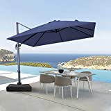 Crestlive Products 10 FT Square Patio Cantilever Umbrella Outdoor Hanging Offset Umbrella with Crank and Cross Base, Gray Umbrella Pole and Ribs, 500h Fadesafe Canopy (Navy Blue)