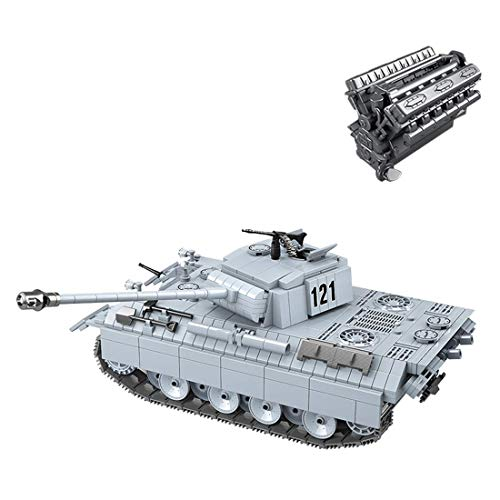 Tank Model Kit, 990 PCS Tank Toy Puzzle para Construir para niños, niñas, niños y Adultos, Pequeño Bloque de Edificios Compatible Lego - SWAT WW2 V12 Panther Panther Tank