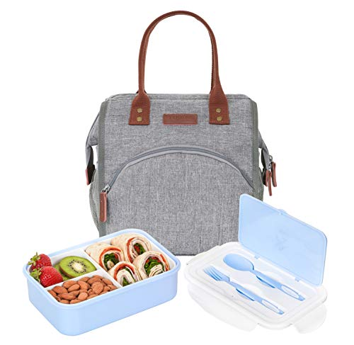 BUNNYSLOPE Insulated Lunch Bag and Bento Box with 3 Leakproof Compartments for Adults and Kids Blue