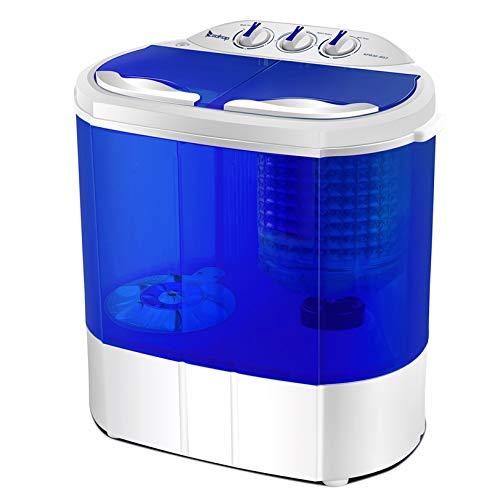10.4Lbs Semi-automatic Twin Tube Washing Machine US Standard White & Blue - Mini Washing Machine Portable Compact Laundry Washer Spin IHADA