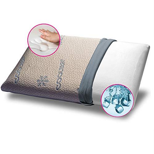 GEEMMA s.r.l. Cuscino Memory Fresco, Rigido ma Avvolgente, Modello saponetta e cervicale, Alto 12 cm per 40x70 cm con Tessuto rinfrescante Cooler