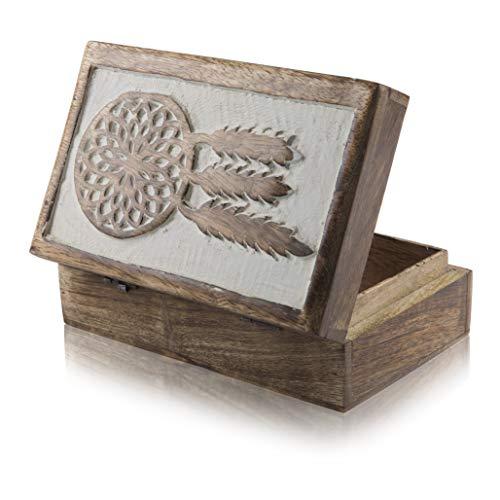 organizador de joyas Global Village Bazaar caja de 9 x 6 pulgadas caja de recuerdos Joyero decorativo hecho a mano de madera con caja para joyas caja de recuerdos caja de candado