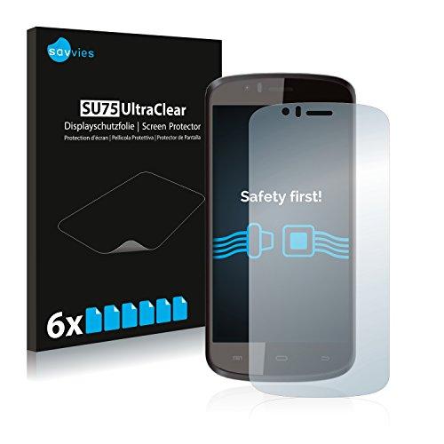 Savvies 6X Schutzfolie kompatibel mit Archos 50e Helium Bildschirmschutz-Folie Ultra-transparent