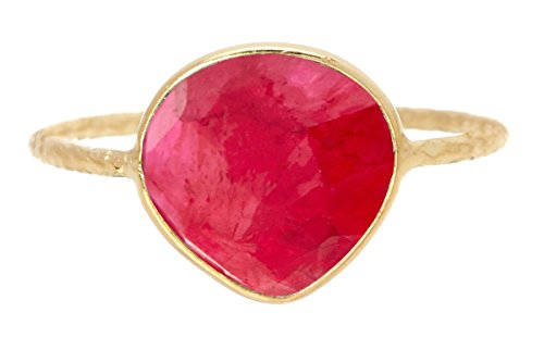 Genuine Ruby 18K Gold Plated Sterling Silver Wholesale Gemstone Fashion Jewelry Pear Cut Ring (8)