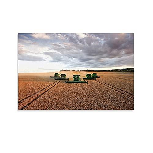 Póster de la granja Varios John Deere Harvesters Trabajar en una granja grande para cosechar cosechas, póster decorativo de la pared de la sala de estar, 60 x 90 cm