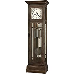 Howard Miller Davidson Floor Clock 611-264 – Distressed Aged Auburn, Grandfather Home Decor with Illuminated Case & Cable-Driven, Single-Chime Movement