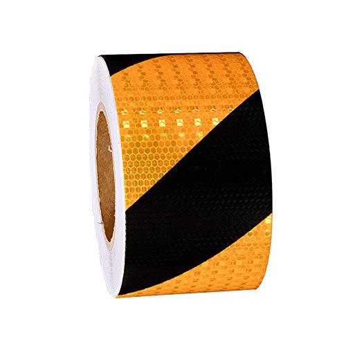 Sweieoni Cinta de Advertencia de Peligro Negro Amarillo Cinta Reflectante Adhesiva Autoadhesiva Cinta Seguridad de Señalización Distancia de Seguridad Negro Amarillo,5 cm x 15 m