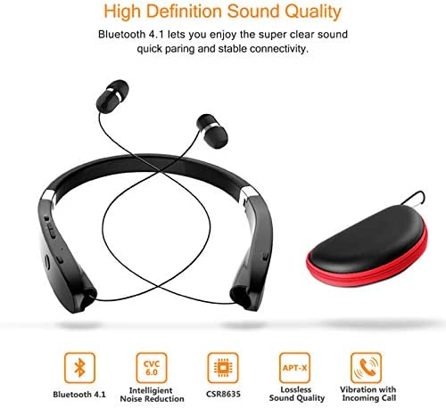 Foldable Bluetooth Headset, Beartwo, (with carry case)