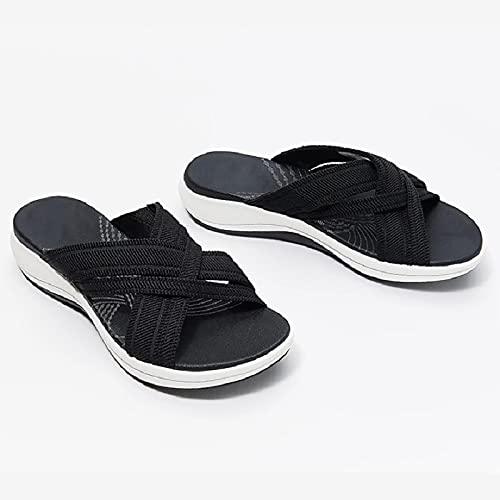 LPIJN Sandalias Cruzadas Elásticas Zapatillas De Plataforma Zapatos Orthofeet De Mujer Pendiente De Tejido Volador Verano Vintage Zapatos Ahuecados Casa De Playa Zapatos para Caminar,Black-38