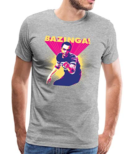The Big Bang Theory Sheldon Bazinga Männer Premium T-Shirt, 5XL, Grau meliert