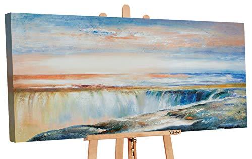 YS-Art | Tableau Peinture Acrylique Le Pouvoir de la Nature II Peint à la Main 120x60cm Tableau Peinture sur Toile Unique Bleu