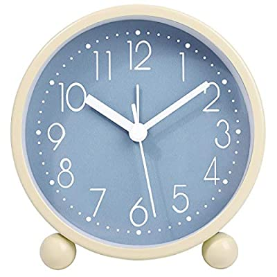 Yumt 4 inch Simple Stylish Small Analog Alarm Clock with Night Light,Silent Non Ticking Round Quality Quartz Battery Operated Decorative Desk Clock for Bedroon, Bedside, Desk,(White + Rose Red)