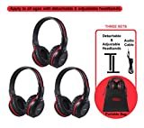 SIMOLIO 3 Pack of DVD Wireless Headphones with Storage Bag, Durable Car Kids IR Headphones Wireless for Car Entertainment System, Infrared Headphones with Aux Cord, Not Work on 2017+ GM's or Pacifica