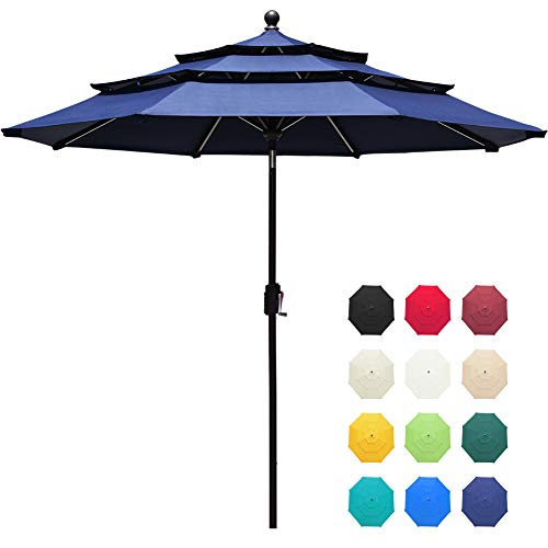 EliteShade Sunbrella 9Ft 3 Tiers Market Umbrella Patio Outdoor Table Umbrella with Ventilation and 5 Years Non-Fading Top,Navy Blue