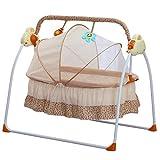 BTdahong Elektrische Baby Wiege Automatische Babyschaukel Babyschale Platz Safe Babywippe Vibration Melodie Fernsteuerung, Musik + Matte + Moskitonetze (Khaki)